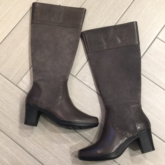 36d567b90e9 Clarks Shoes - NWOT Clark s block heel suede leather tall boot